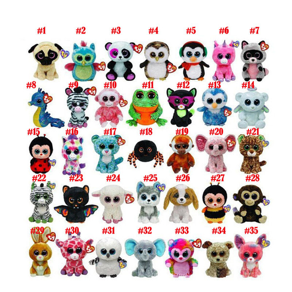 best selling 35 Design Ty Beanie Boos Plush Stuffed Toys 15cm Wholesale Big Eyes Animals Soft Dolls for Kids Birthday Gifts ty toys