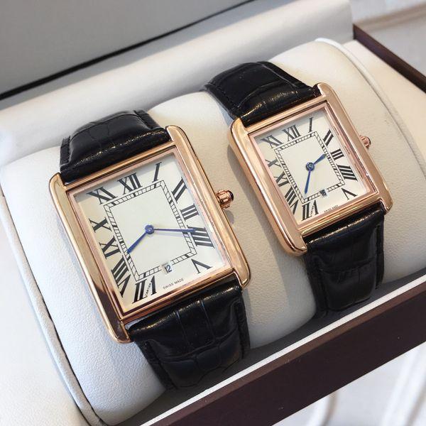 Famoso diseñador de Moda Venta Caliente Hombre / mujer marca Reloj Correa de cuero Casual Nuevo Vestido de Lujo Reloj de Cuarzo cuadrado Relojes De Marca Reloj de pulsera