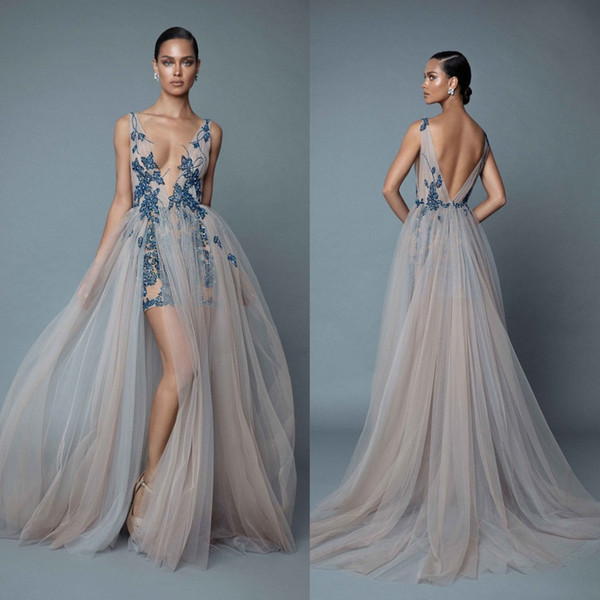 2019 Berta Evening Dresses With Overskirts Plunging V Neck Backless Prom Dress With Appliqued Beaded Floor Length Party Dresses E031