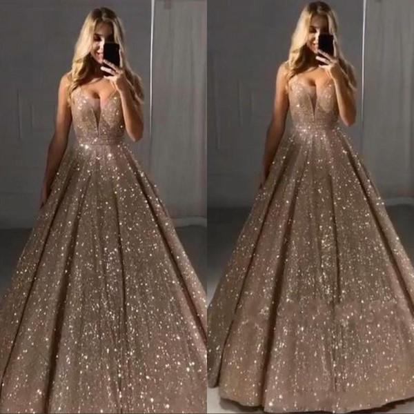 Vintage brillante de las lentejuelas largo vestido de noche 2020 de la manga V cuello sin respaldo formal del partido del vestido atractivo del desfile de los vestidos