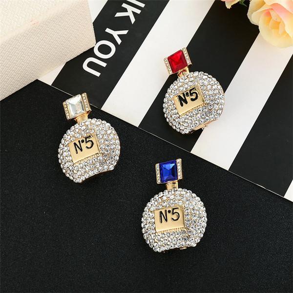 3Color Women Perfume Bottle NO5 Brooch Rhinestone Crystal Luxury Designer Brooch Suit Lapel Pin Gift for Love Girlfriend