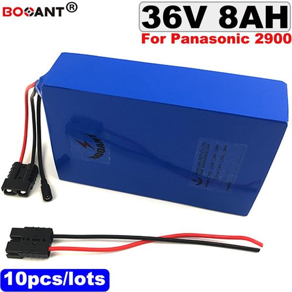 Batería eléctrica al por mayor de la bici de 10pcs / lots 36v 8ah 250w para Panasonic NCR18650PF 2900mAh célula 36v 350w E-bici batería de litio