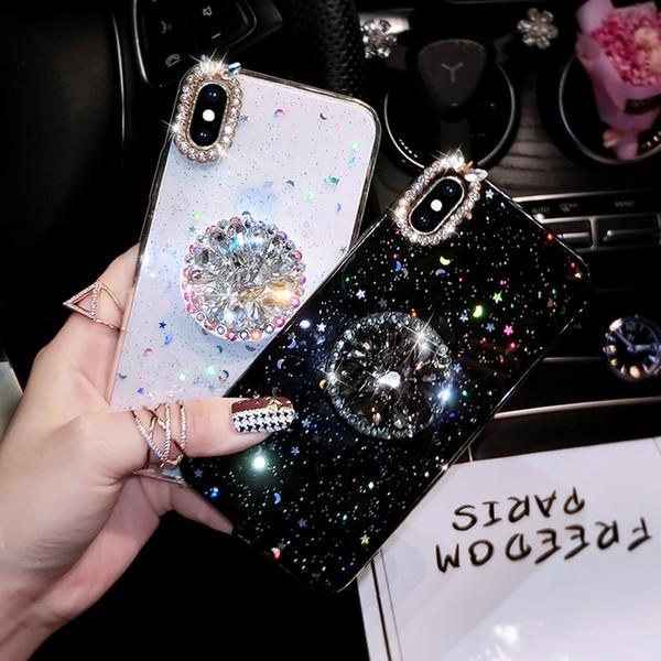 Para iphone 7 8 case lujo brillo cubierta de diamante para iphone x xs max xr 6 7 8 plus rhinestone 3d agarre soporte cajas del teléfono