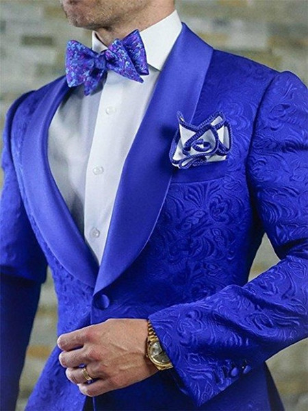 Nueva llegada azul real floral trajes de los hombres para la boda Últimos diseños Novio Esmoquin Traje de solapa Hombres Padrinos de boda Best Man Blazer