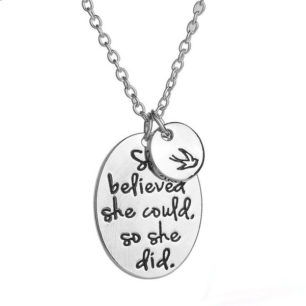 """Hot Sale """"she believed she could so she did"""" Swallow Charms Pendant Necklaces For Women Men Best Friends Inspirational Jewelry"""