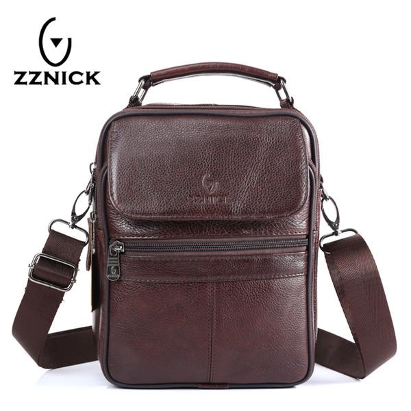 Zznick 2017 Neue Ankunft Echtes Leder Taschen Für Männer Umhängetasche Herrentasche Umhängetasche Portfolio Flap Pocket 8206 Y190701
