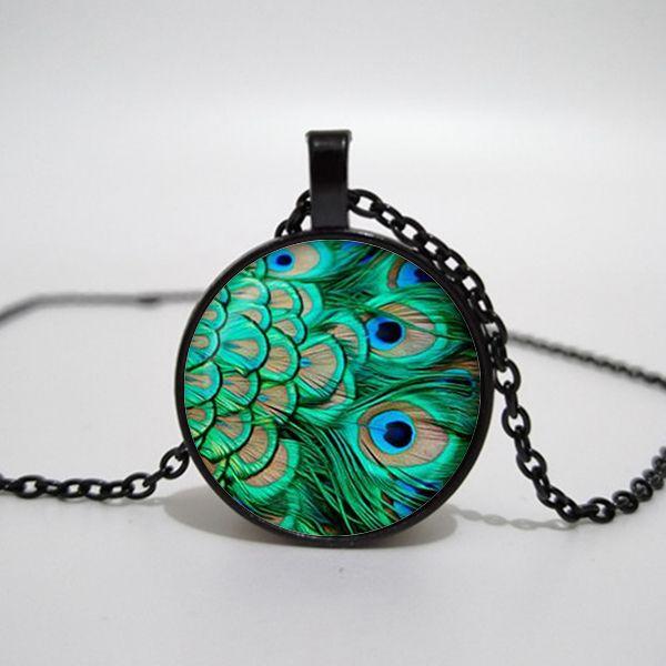 Paon pendentif fait main collier de paon rétro rond vert bijoux Art Print Jewelry