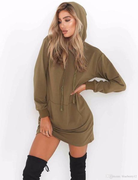 2018 nuovi hoodies pieni per modo delle donne maniche lunghe con cappuccio Pullover con Pocket 2 colori Abiti sportivi