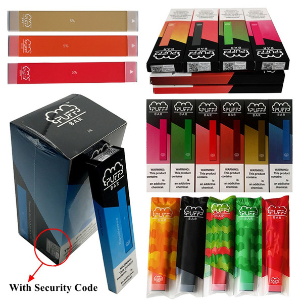 Newest Puff Bar Pods Starter Kit Disposable Vape Pen With Security Code 1.3ml Vape Carts 280mAh Battery Device Empty E Cigarettes Puff Bars