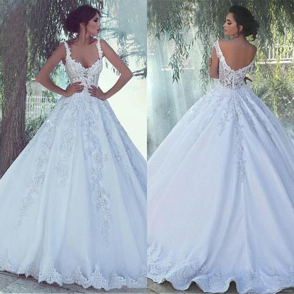 Discount Elegant Spaghetti Strap Ball Gown Wedding Dress Appliques With  Illusion Design Vestios De Novia Bridal Dress Wedding Gown Rental Ball  Dresses