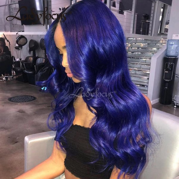 Lady Focus Lace Front Human Hair Wigs With Baby Hair Dark Blue Body Wave Full Lace Wig Virgin Human Hair Pure Blue Wig