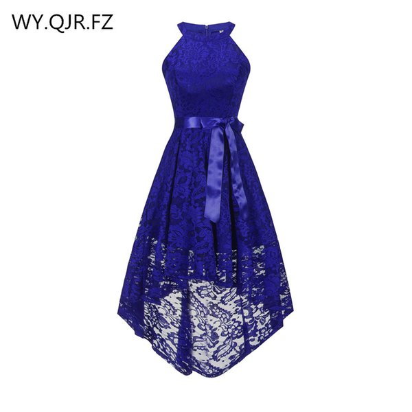 OML526#Front short long back dark blue halter Bow Bridesmaid Dresses wedding party dress prom gown wholesale fashion