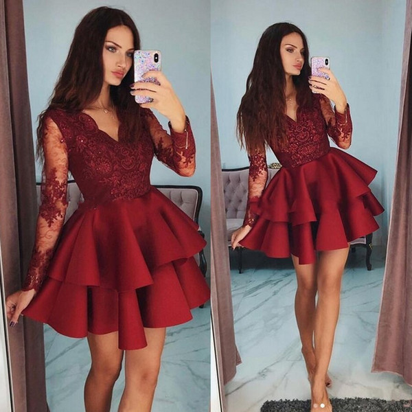 top popular Tiered Ruffles Burgundy Satin Short Cocktail Dresses 2019 Modest Sheer Long Sleeves Party Gowns Appliques Lace 8th Grade Homecoming Dress 2020