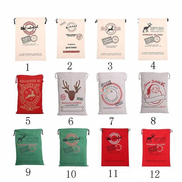2017 New Hot Christmas Gift Bags Large Organic Heavy Canvas Bag Santa Sack Drawstring Bag With Reindeers Santa Claus Sack Bags for kids