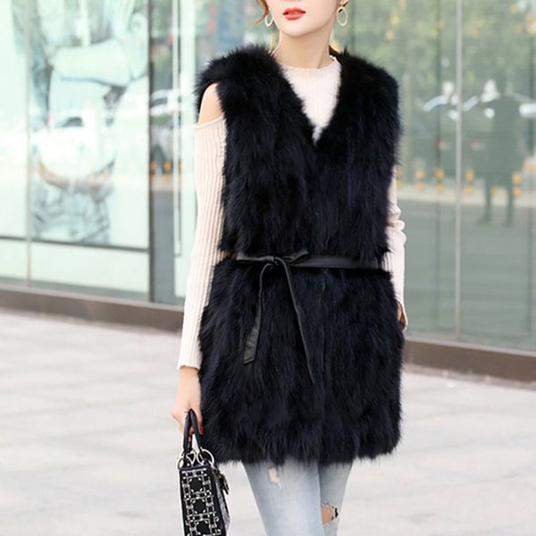 New Long Black White Fur Vests Women Tops Faux Fur Coat Plus Size Sleeveless Vest Cardigan Fall 2018 Winter Coats for Women T8
