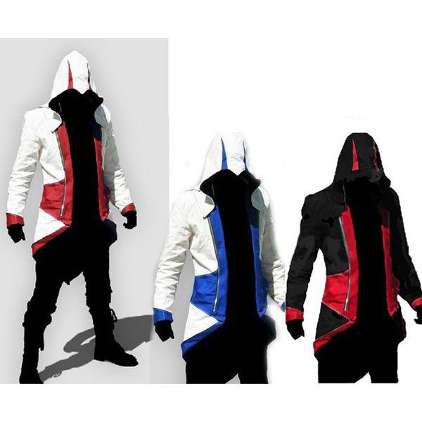 Moda Elegante Assassins Creed 3 Conner Kenway Ezio Chaqueta con Capucha Abrigo Anime Cosplay Traje de Asesino Cosplay Abrigo
