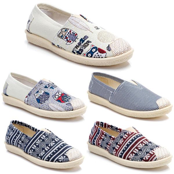 2020 bon marché non-marque femmes chaussures Vintage Slip Espadrilles Chaussures Flats chaussures en toile Casual classique Mocassins Sneakers 36-40 article # 18