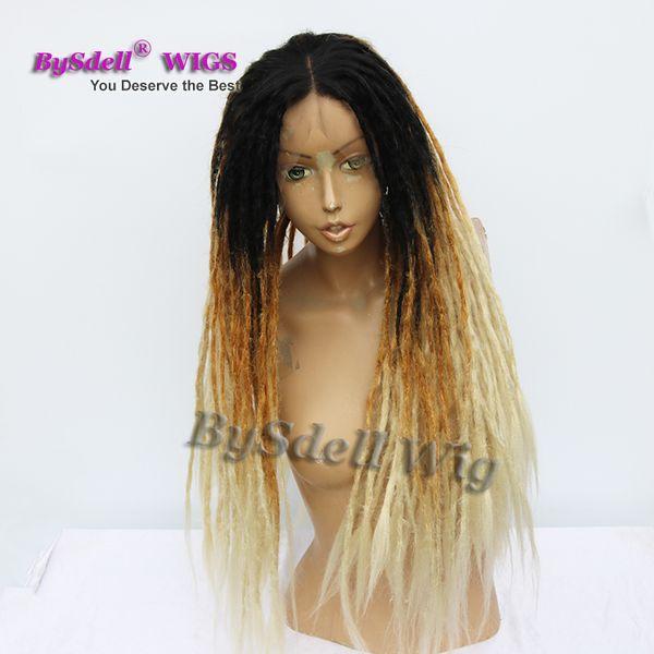 Ручная работа Ямайка Dreadlock Wig Синтетические афро дреды Волосы Черный Ombre коричневый светло-коричневый светлый парик Dread Braid Lace Front парики для чернокожих женщин