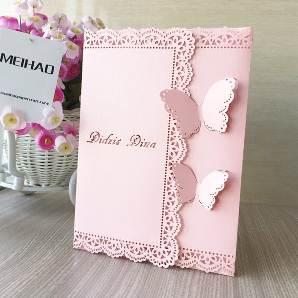 100Pcs /lot 3D Custom Hollow Laser Cut Wedding Invitation Card Envelope Design With Lace Invitation Cards Graduation Garden Events Supplies