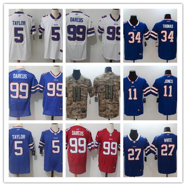 release date 2bdbf 32775 Mens 11 Zay Jones Jerseys Buffalo Bills Football Jerseys 100% Stitched  Embroidery 99 Marcell Dareus 5 Tyrod Taylor Color Rush Football Shirt  Custom ...