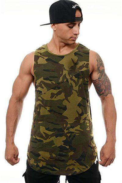 Mens imprimé camouflage Gilet sans manches ras du cou Sport Hommes Débardeurs irrégulière Hem colorée Vêtements Homme