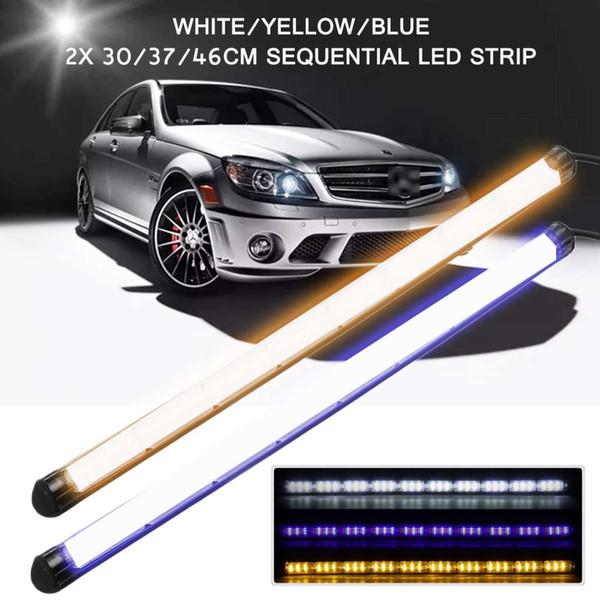 2x LED Car DRL Daytime Running Light Indicatori di direzione Sequenziale a scorrimento dell'acqua Indicatore luminoso a forma di lampada 30/37 / 46cm