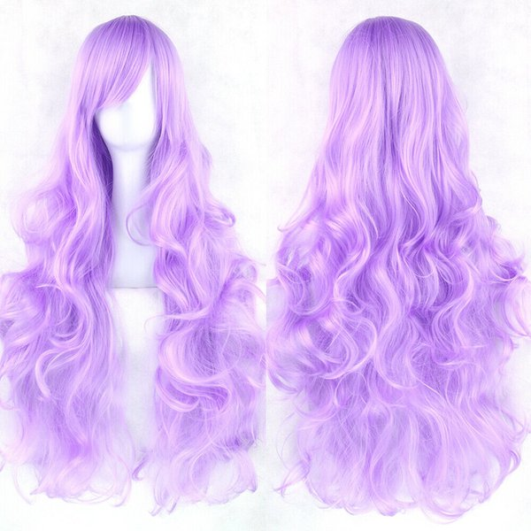 80cm Ladies Long Curly Wigs Fashion Cosplay Costume Headwear Anime Full Wavy Party Wig Various Colors Available