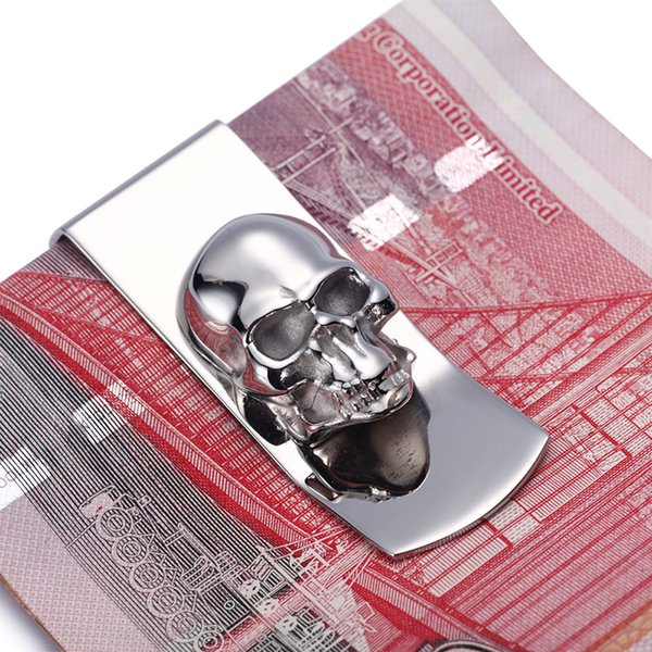 Modern -Brand New 2016 Skull Designs Men Sliver Money Clip Slim Pocket Purse Cash Holder Card Organizer Men Women Wallet