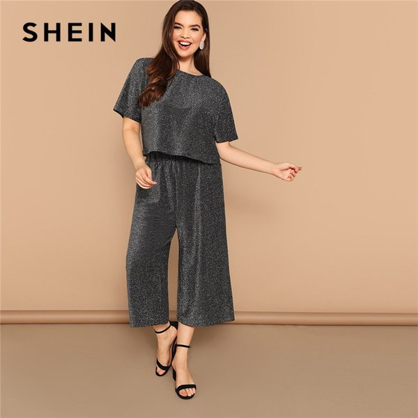 SHEIN Gray Plus Size Cutout Back Short Sleeve Glitter Tops With Palazzo Pants Women Sets Wide Leg Crop Trousers Two Pieces Suits
