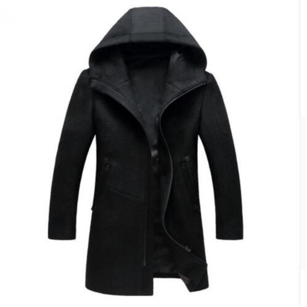 Cappotto di lana da uomo in lana stile autunno-inverno Nuovo design Cappotto lungo con cerniera di marca Abbigliamento da uomo di alta qualità con cappuccio in lana