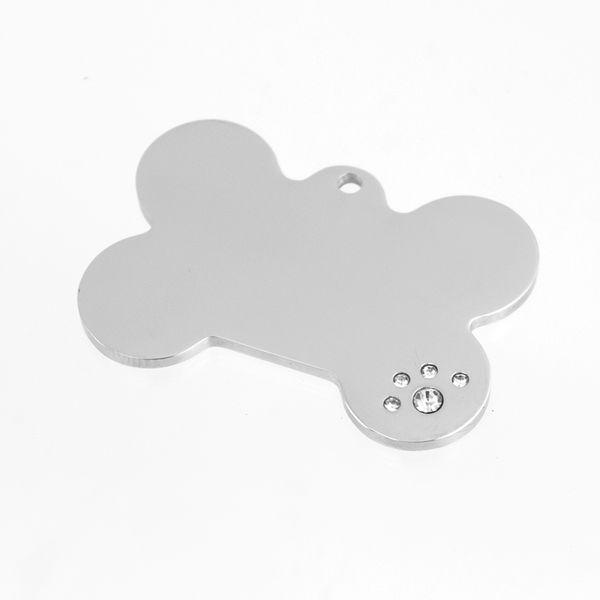 100% Stainless Steel Rhinestone Dog Bone Dog Tag ID Pet Tags Blank Personalized Print Engraved Mirror Polished Charm Pendant
