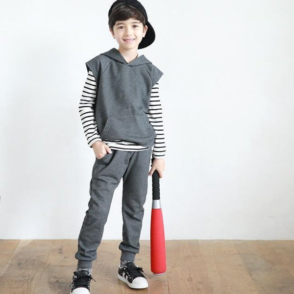 3pcs Kids boys girls clothing set spring autumn striped t shirt gray vest and pant set baby new fashion clothes children 3-10T