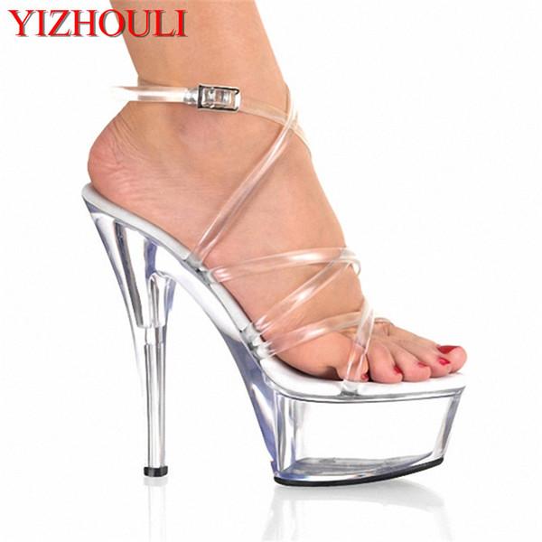 Прозрачные 15 см высокие каблуки, сексуальные сандалии кросс ремень, хрустальная платформа свадебные туфли, партия ходить сандалии
