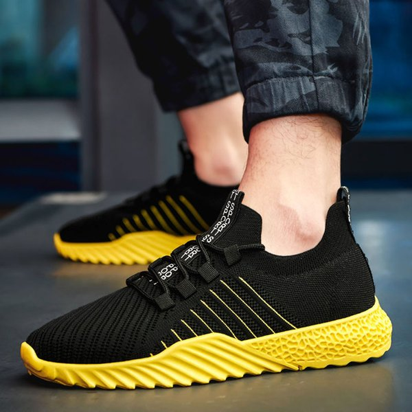 MUQGEW striped Summer flats sneaker men shoes Fashion Hollow Mesh Breathable Sneakers Non-Slip Wear-Resistant Sneakers chaussure