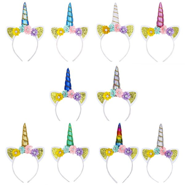 free shipping Kids Unicorn birthday Glitter Hairband Rainbow Unicorn Horn Hairband unicorn Bonus for Christmas easter Party kids hair tie