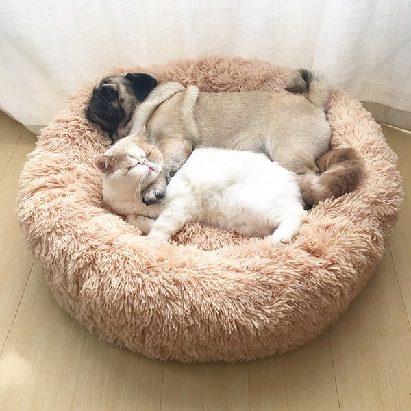 Pet Dog Bed Long Plush Super Soft Pet Kennel Round Dog House Cat Bed For Dogs Bed Chihuahua Big Large Mat Bench Pet Supplies