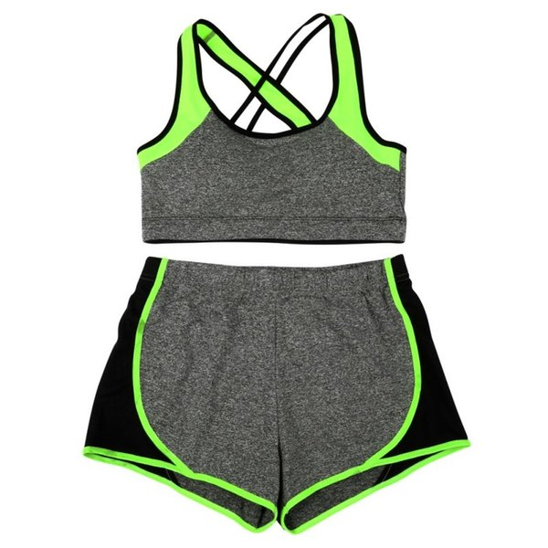 Women Sexy Solid Patchwork Sports Yoga Bra & Shorts Set Racer Back Wire Free Bra & Patchwork Short Pants #680682
