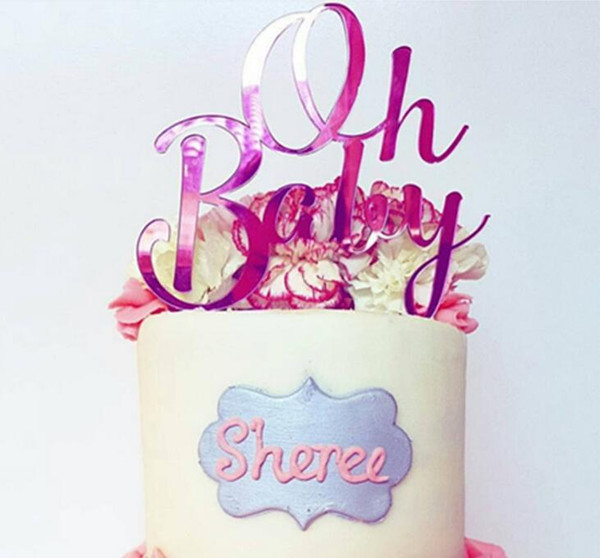 Oh Baby Cake Topper - Gold Pink Blue Acrylic Mirror Style Cake Decoration for Baby Shower Birthday Party 5 Colors