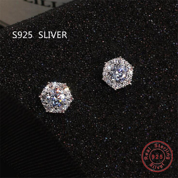 top popular Simple Fashion Jewelry Stunning Real 925 Sterling Silver Round Cut White Topaz CZ Diamond Gemstones Party Women Wedding Bridal Stud Earring 2021