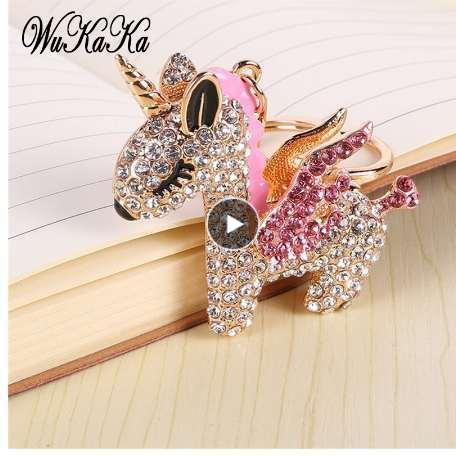 2019 Mode Full Crystal Strass Licorne Porte-clés Porte-clés de voiture Sacs pour femmes Décoration Accessoires cheval Pendentifs Bijoux