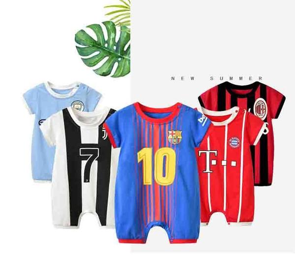 Grosshandel Baby Fussball Anzug Klettern Strampler Kinder Sport Overall Kinder Baumwolle Kurzarm Fussball Kleidung Europaischen Fussballverein J190526 Von