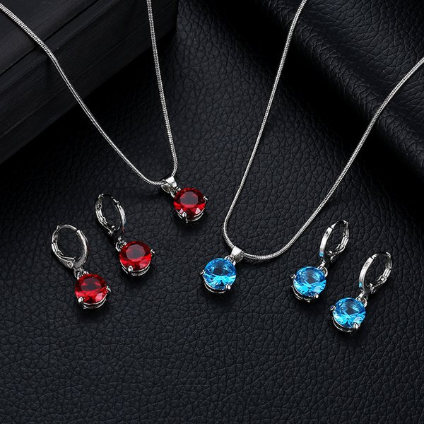 Wedding Jewelry Sets for Women Cubic Zircon Necklace Earrings Party Jewelry Sets Round Cubic Zircon Jewelry Sets
