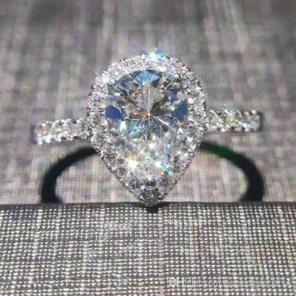 Victoria Wieck Luxus Schmuck 925 Sterling Silber Birne Cut White Sapphire CZ Diamant Edelsteine Frauen Hochzeit Herz Band Ring Geschenk Größe 5-11