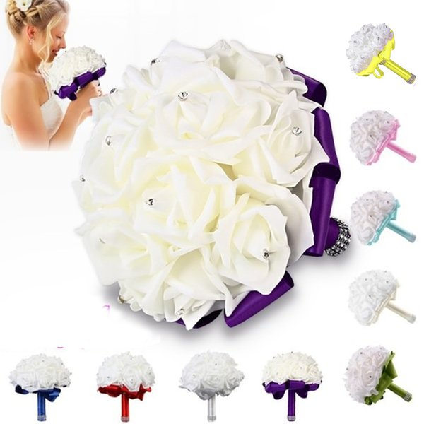 Düğün Carole4 gelin Buket, yapay düğün Çiçek fildişi renkli bir köpük İpek Güller Gelin Gelinlik Buket (S, Sarı)