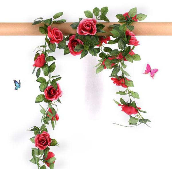 Artificial Rose Flowers Vine String Wedding Ornamental Fake Rose Flower Ivy Vine Garland Wedding Party Home Decor KKA6450