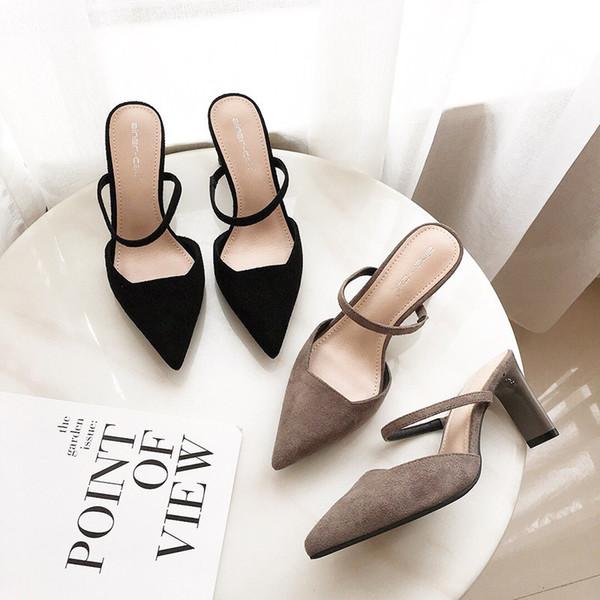 Sexy2019 Korean Pattern Ma'am Coarse Set-Fuß-einzelner Schuh hoch mit Normallackbüro-Frau beschuht 2601
