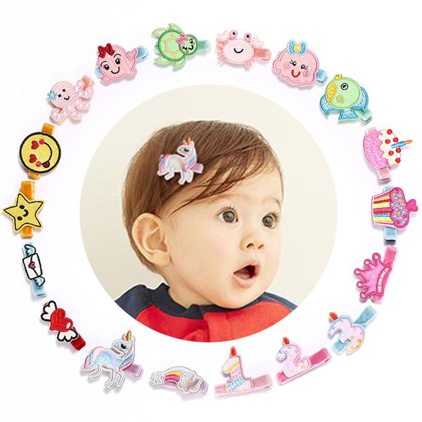 18pcs/lot Novelty Girls Cartoon Hairpins Felt Embroidery Love Heart Animals Number Design Cute Kids Headwear Whole Embroidery Hair Clips
