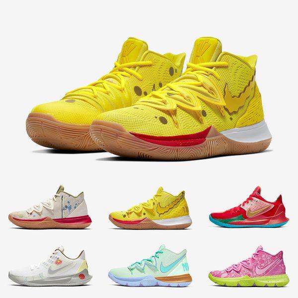 Новые Губка Боб X Kyrie Ирвинг 5 Мужские Баскетбольные кроссовки 5s Спортивный Мистер