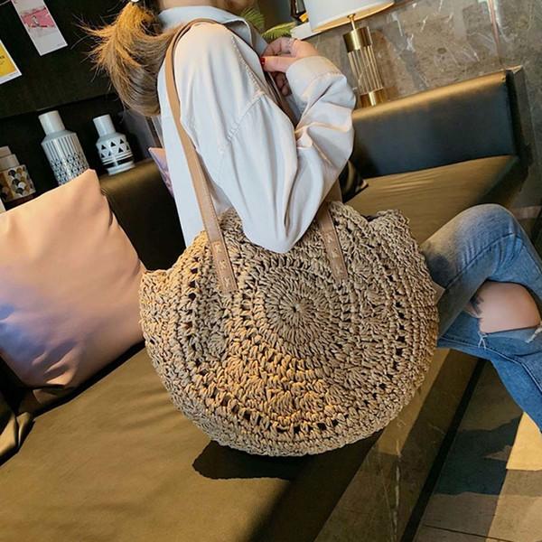 Повседневная сумка на ремне из ротанга с круглым вырезом из соломенной сумки большой емкости Handmae Summer Totes Lady Круглый чешский пляж Treval Sac Y190620