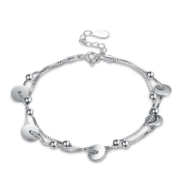 Fashionable Charm Bracelets S925 Sterling Silver Double-layer Small Disc Multi-layer Bracelet Accessories Ladies Anniversary Gifts POTALA004